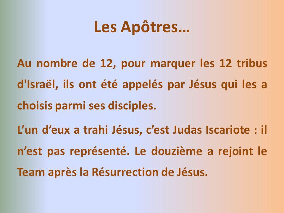 Les Apôtres… Au nombre de 12, pour marquer les 12 tribus d Israël, ils ont été appelés par Jésus qui les a choisis parmi ses disciples.