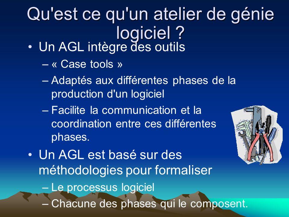 Qu'est ce qu'un atelier de génie logiciel ? Un AGL intègre des outils –« Case tools » –Adaptés aux différentes phases de la production d'un logiciel –