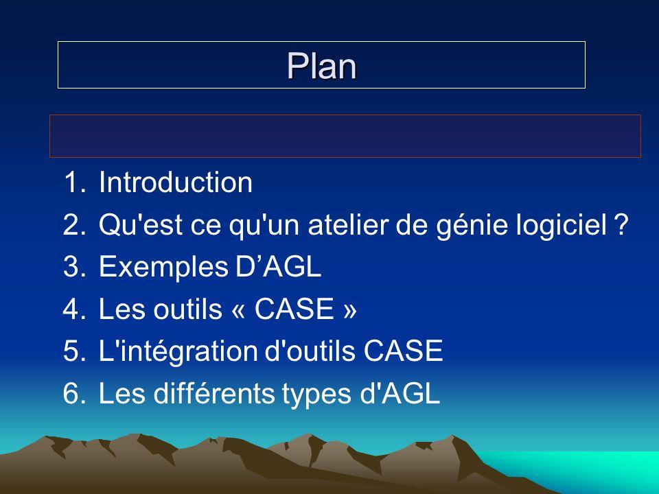 Plan 1.Introduction 2.Qu'est ce qu'un atelier de génie logiciel ? 3.Exemples DAGL 4.Les outils « CASE » 5.L'intégration d'outils CASE 6.Les différents