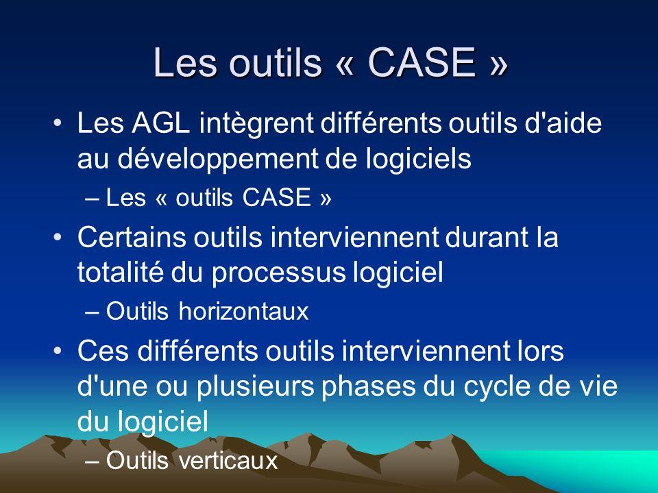 Les outils « CASE » Les AGL intègrent différents outils d'aide au développement de logiciels –Les « outils CASE » Certains outils interviennent durant