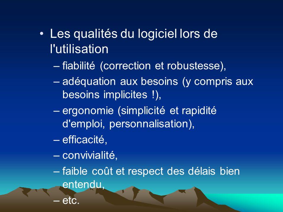 Les qualités du logiciel lors de l'utilisation –fiabilité (correction et robustesse), –adéquation aux besoins (y compris aux besoins implicites !), –e