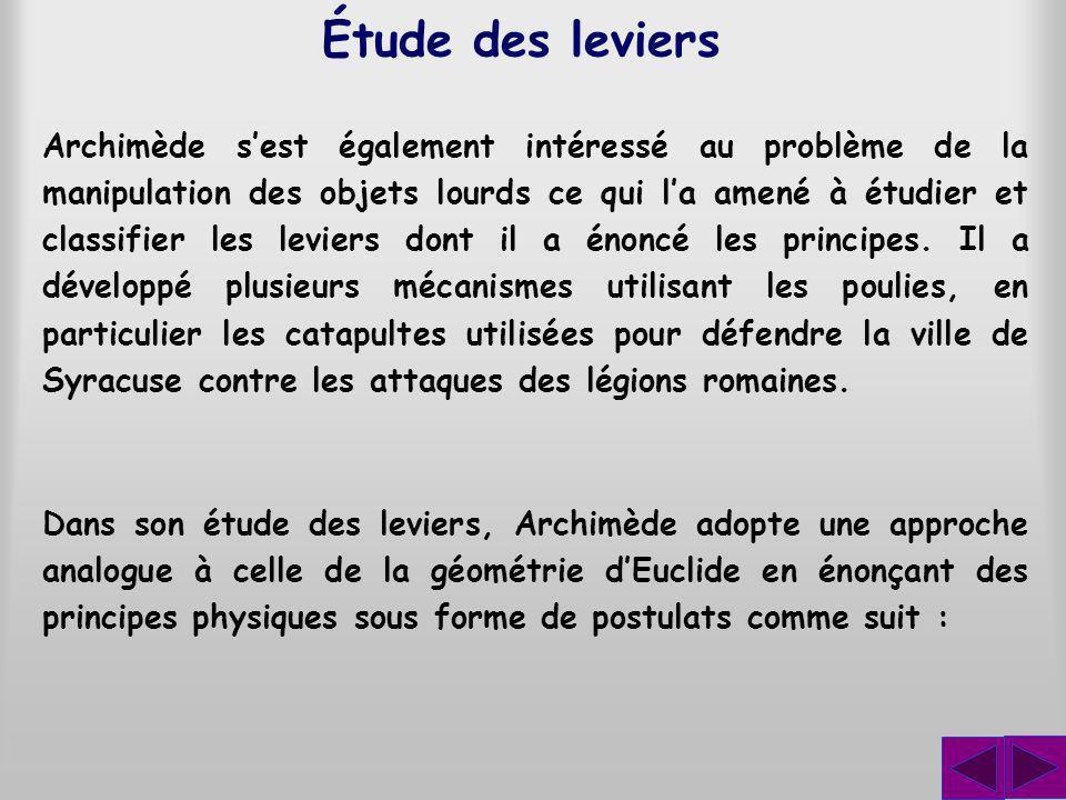 Archimède sest également intéressé au problème de la manipulation des objets lourds ce qui la amené à étudier et classifier les leviers dont il a énoncé les principes.