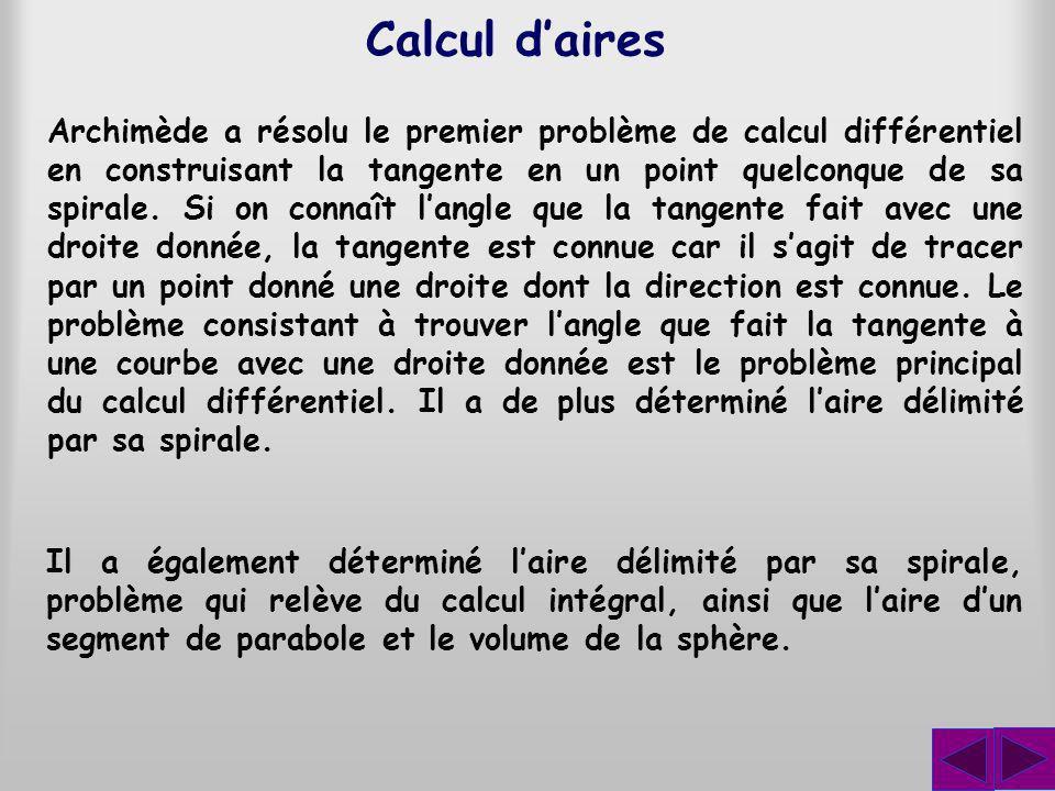 Calcul daires Archimède a résolu le premier problème de calcul différentiel en construisant la tangente en un point quelconque de sa spirale.