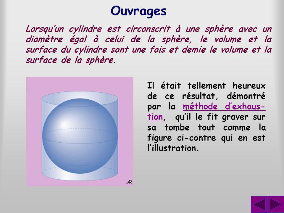 Ouvrages Lorsquun cylindre est circonscrit à une sphère avec un diamètre égal à celui de la sphère, le volume et la surface du cylindre sont une fois et demie le volume et la surface de la sphère.