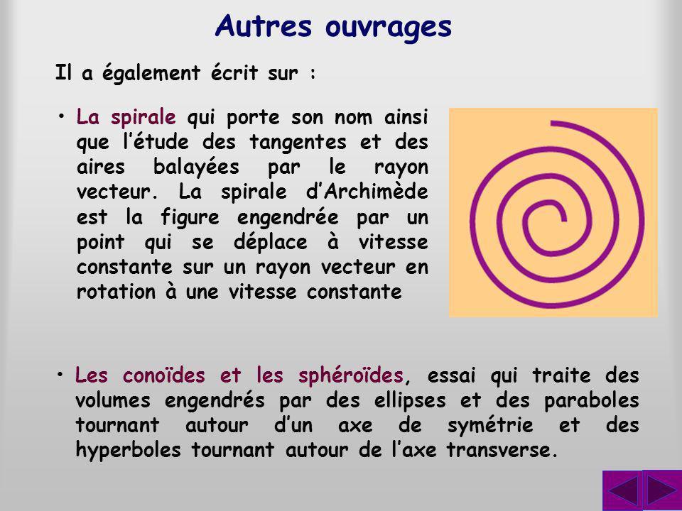Autres ouvrages La spirale qui porte son nom ainsi que létude des tangentes et des aires balayées par le rayon vecteur. La spirale dArchimède est la f