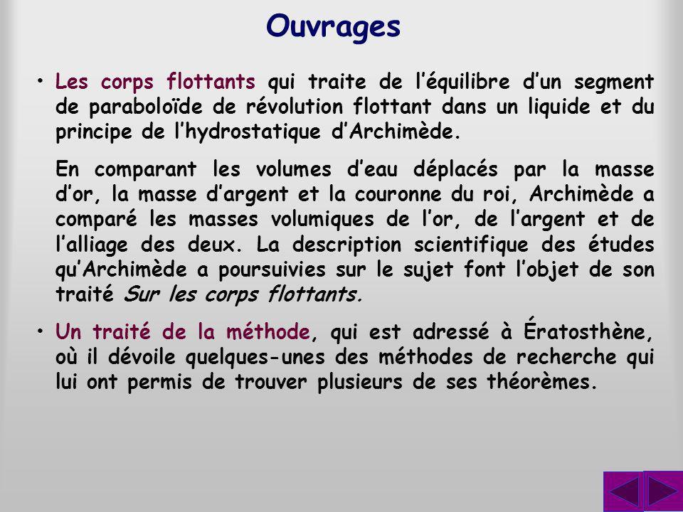Ouvrages Les corps flottants qui traite de léquilibre dun segment de paraboloïde de révolution flottant dans un liquide et du principe de lhydrostatiq