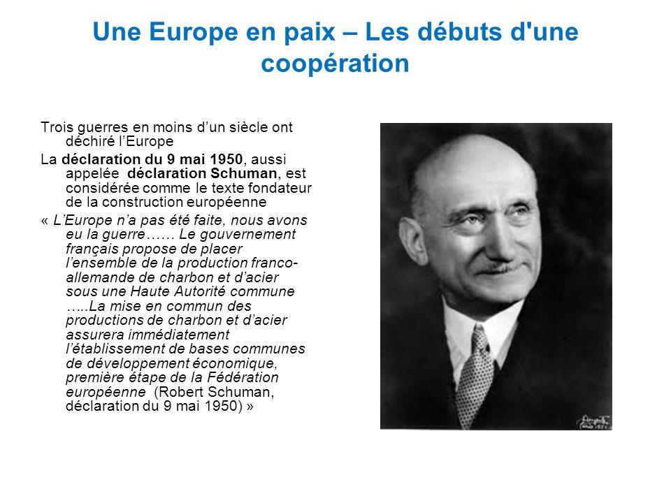 Une Europe en paix – Les débuts d'une coopération Trois guerres en moins dun siècle ont déchiré lEurope La déclaration du 9 mai 1950, aussi appelée dé