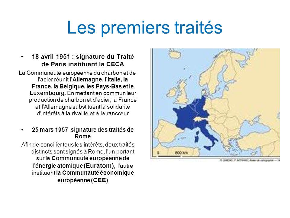Les premiers traités 18 avril 1951 : signature du Traité de Paris instituant la CECA La Communauté européenne du charbon et de lacier réunit lAllemagne, lItalie, la France, la Belgique, les Pays-Bas et le Luxembourg.