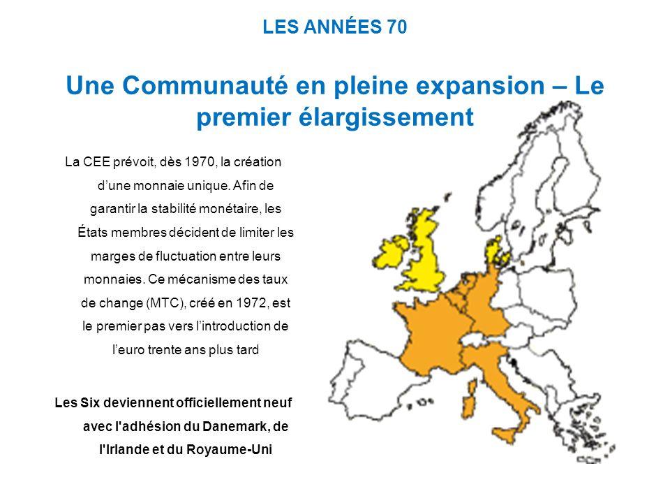 LES ANNÉES 70 Une Communauté en pleine expansion – Le premier élargissement La CEE prévoit, dès 1970, la création dune monnaie unique. Afin de garanti