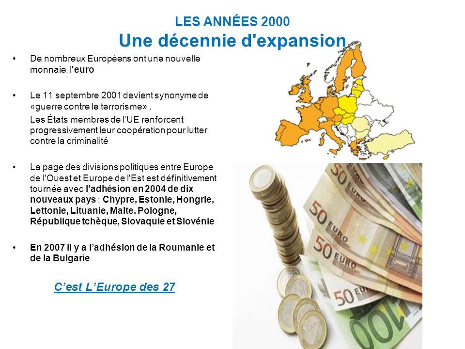 LES ANNÉES 2000 Une décennie d expansion De nombreux Européens ont une nouvelle monnaie, l euro Le 11 septembre 2001 devient synonyme de «guerre contre le terrorisme».