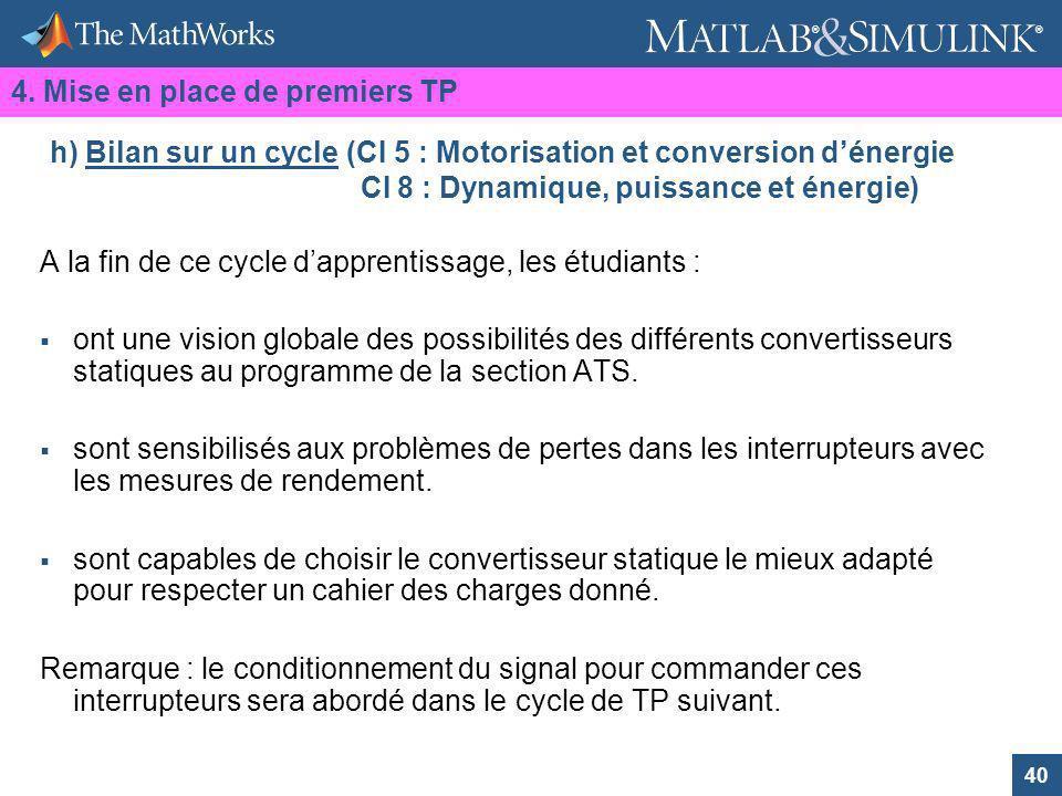 40 ® ® h) Bilan sur un cycle (CI 5 : Motorisation et conversion dénergie CI 8 : Dynamique, puissance et énergie) A la fin de ce cycle dapprentissage,