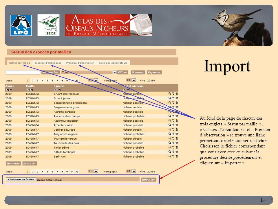Click to edit Master title style 14 Au fond de la page de chacun des trois onglets « Statut par maille », « Classes dabondance » et « Pression dobservation » se trouve une ligne permettant de sélectionner un fichier.