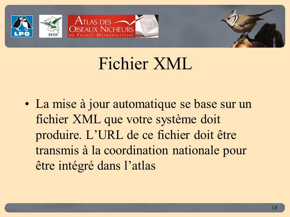 Click to edit Master title style 18 Fichier XML La mise à jour automatique se base sur un fichier XML que votre système doit produire.