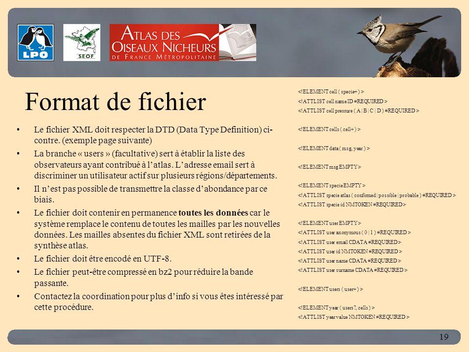 Click to edit Master title style 19 Format de fichier Le fichier XML doit respecter la DTD (Data Type Definition) ci- contre.