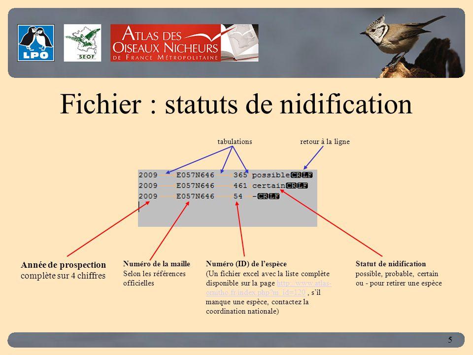 Click to edit Master title style 5 Fichier : statuts de nidification Numéro (ID) de lespèce (Un fichier excel avec la liste complète disponible sur la page http://www.atlas- ornitho.fr/index.php?m_id=120, sil manque une espèce, contactez la coordination nationale)http://www.atlas- ornitho.fr/index.php?m_id=120 Année de prospection complète sur 4 chiffres Numéro de la maille Selon les références officielles Statut de nidification possible, probable, certain ou - pour retirer une espèce tabulationsretour à la ligne