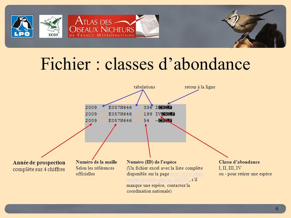 Click to edit Master title style 6 Fichier : classes dabondance Numéro (ID) de lespèce (Un fichier excel avec la liste complète disponible sur la page http://www.atlas- ornitho.fr/index.php?m_id=120, sil manque une espèce, contactez la coordination nationale)http://www.atlas- ornitho.fr/index.php?m_id=120 Année de prospection complète sur 4 chiffres Numéro de la maille Selon les références officielles Classe dabondance I, II, III, IV ou - pour retirer une espèce tabulationsretour à la ligne