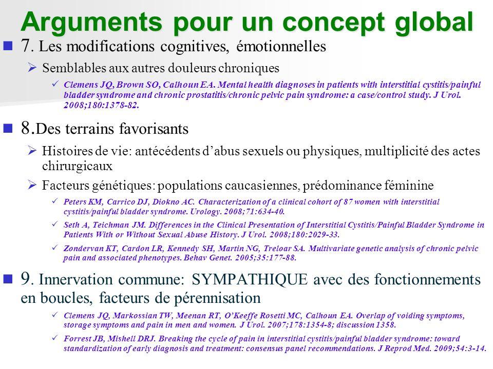 Arguments pour un concept global 7. Les modifications cognitives, émotionnelles Semblables aux autres douleurs chroniques Clemens JQ, Brown SO, Calhou