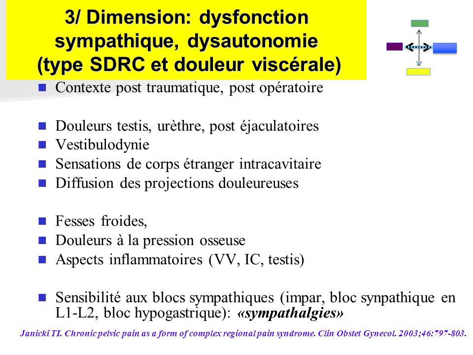 3/ Dimension: dysfonction sympathique, dysautonomie (type SDRC et douleur viscérale) Contexte post traumatique, post opératoire Douleurs testis, urèth