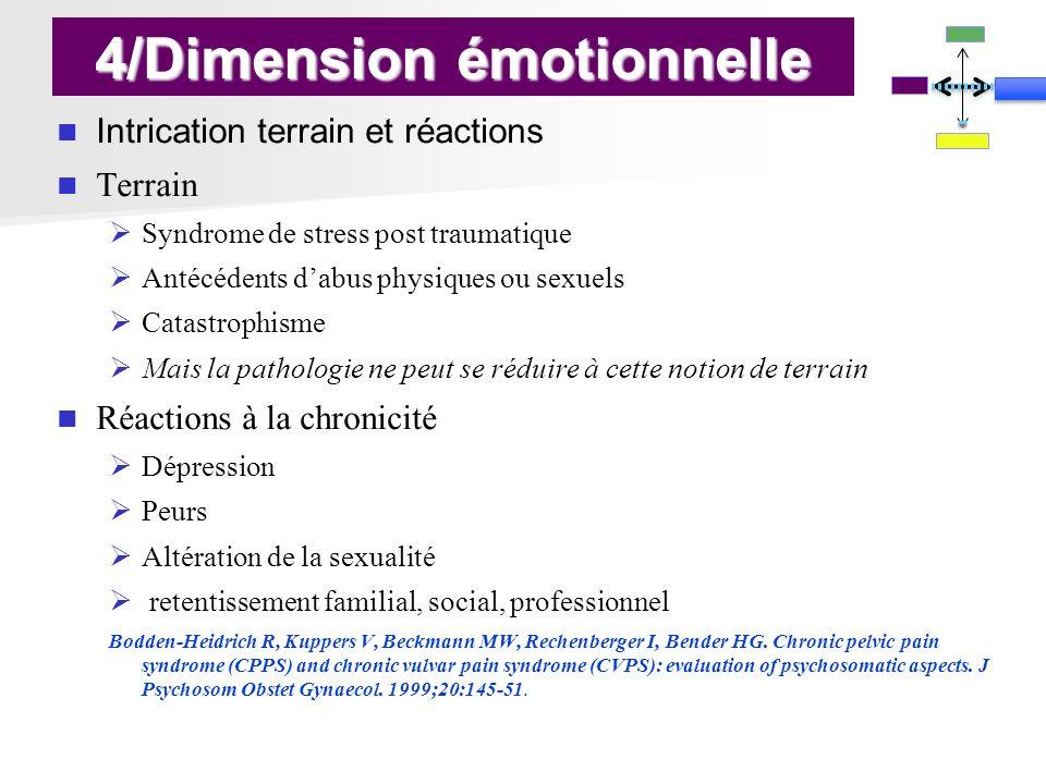 4/Dimension émotionnelle Intrication terrain et réactions Terrain Syndrome de stress post traumatique Antécédents dabus physiques ou sexuels Catastrop