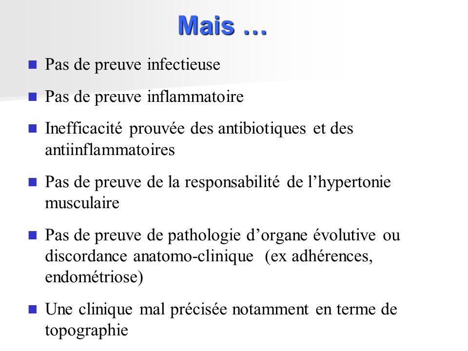 Une constante : des douleurs et des troubles fonctionnels pelvi périnéaux: Pollakiurie, Dysurie Troubles éjaculatoires Dyspareunie Aggravation prémenstruelle Constipation Diarrhée