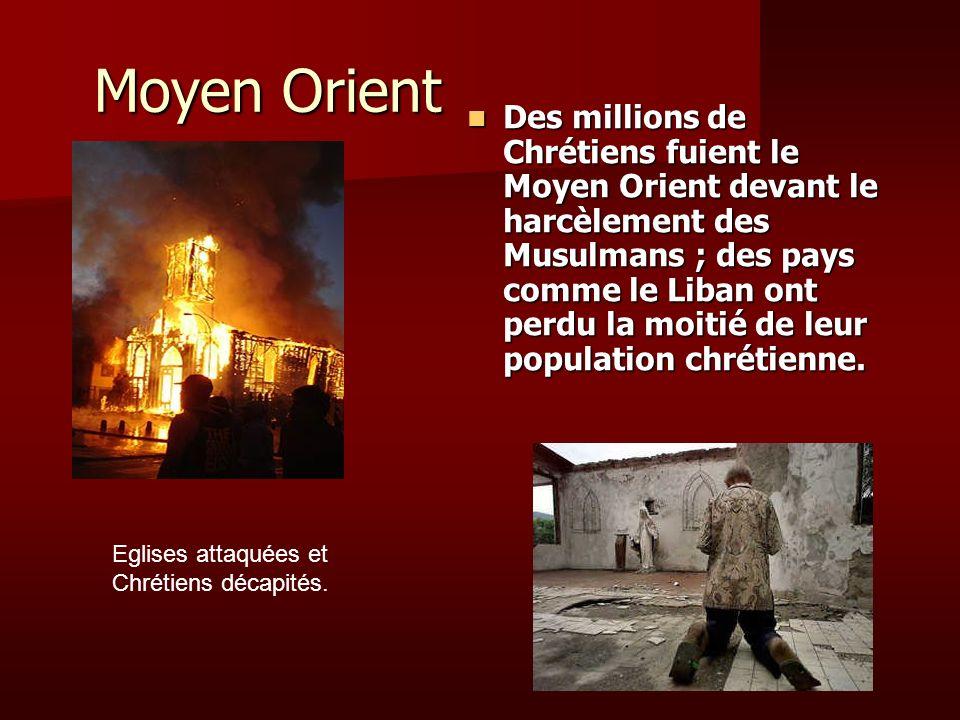 Moyen Orient Des millions de Chrétiens fuient le Moyen Orient devant le harcèlement des Musulmans ; des pays comme le Liban ont perdu la moitié de leu