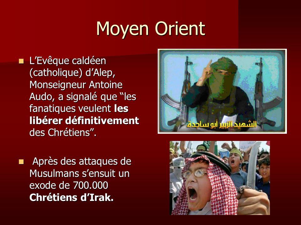 Moyen Orient LEvêque caldéen (catholique) dAlep, Monseigneur Antoine Audo, a signalé que les fanatiques veulent les libérer définitivement des Chrétie