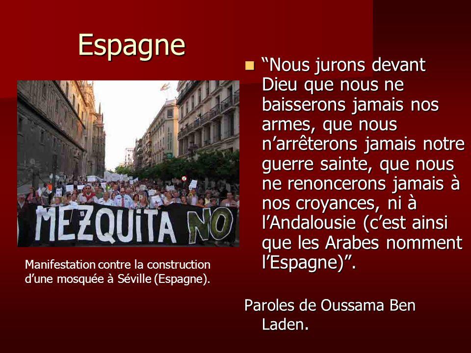 Espagne Nous jurons devant Dieu que nous ne baisserons jamais nos armes, que nous narrêterons jamais notre guerre sainte, que nous ne renoncerons jama