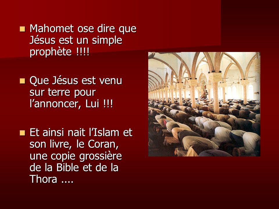 Mahomet ose dire que Jésus est un simple prophète !!!! Mahomet ose dire que Jésus est un simple prophète !!!! Que Jésus est venu sur terre pour lannon