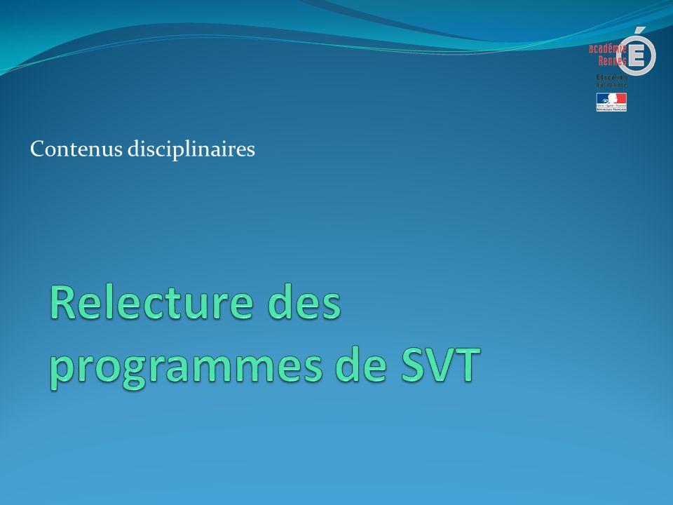Cohérence verticale des programmes de SVT Une progressivité en changeant de niveau dorganisation dans les connaissances Une progressivité dans lacquisition des compétences