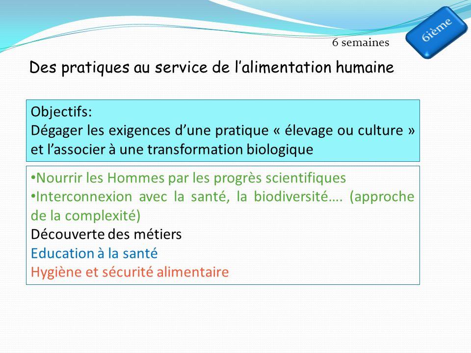 Des pratiques au service de lalimentation humaine 6 semaines Objectifs: Dégager les exigences dune pratique « élevage ou culture » et lassocier à une transformation biologique Nourrir les Hommes par les progrès scientifiques Interconnexion avec la santé, la biodiversité….