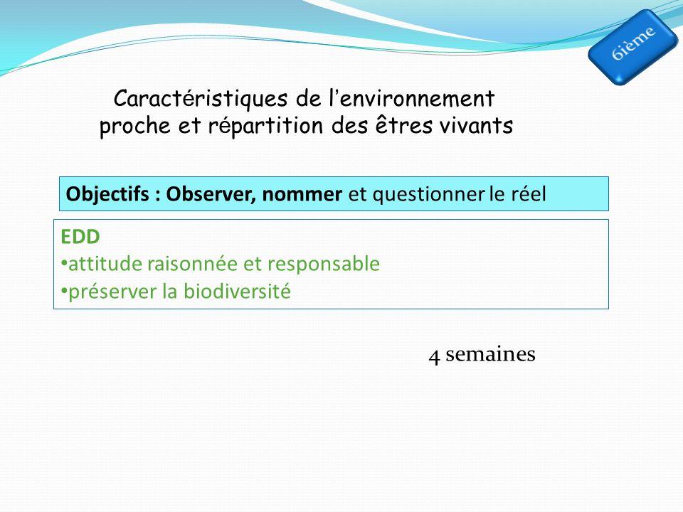 Caract é ristiques de l environnement proche et r é partition des êtres vivants 4 semaines Objectifs : Observer, nommer et questionner le réel EDD attitude raisonnée et responsable préserver la biodiversité
