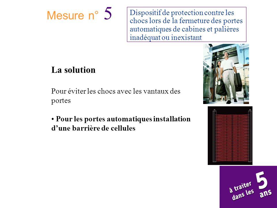 Mesure n° 5 Dispositif de protection contre les chocs lors de la fermeture des portes automatiques de cabines et palières inadéquat ou inexistant La s
