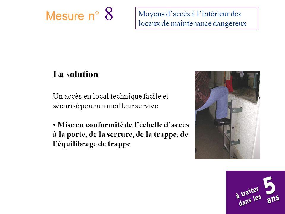 Mesure n° 8 Moyens daccès à lintérieur des locaux de maintenance dangereux La solution Un accès en local technique facile et sécurisé pour un meilleur