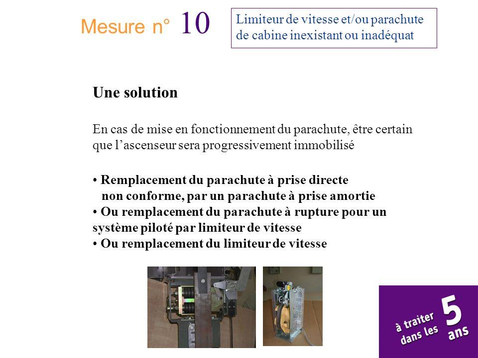 Mesure n° 10 Limiteur de vitesse et/ou parachute de cabine inexistant ou inadéquat Une solution En cas de mise en fonctionnement du parachute, être ce