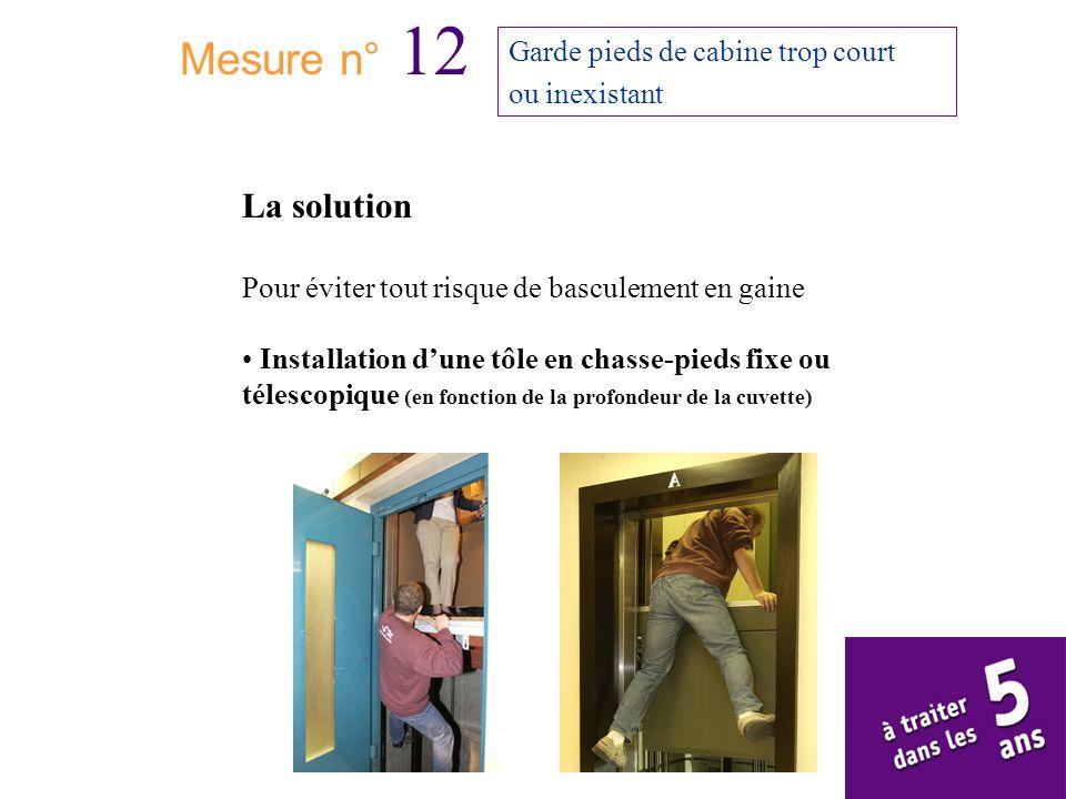Mesure n° 12 Garde pieds de cabine trop court ou inexistant La solution Pour éviter tout risque de basculement en gaine Installation dune tôle en chas