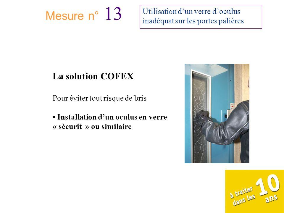 Mesure n° 13 Utilisation dun verre doculus inadéquat sur les portes palières La solution COFEX Pour éviter tout risque de bris Installation dun oculus