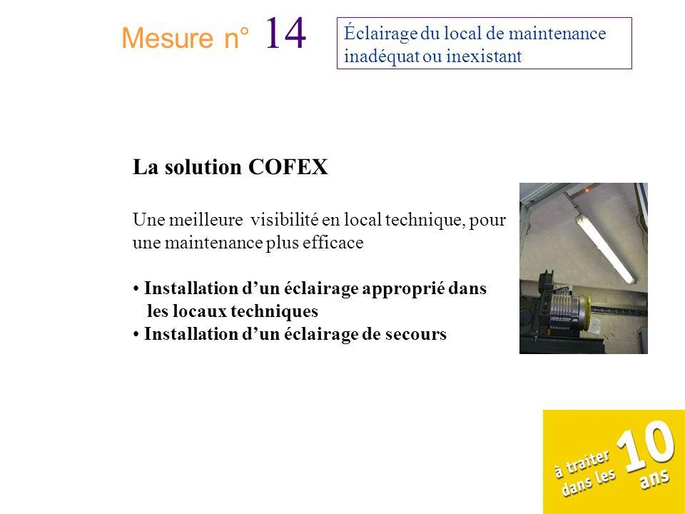 Mesure n° 14 Éclairage du local de maintenance inadéquat ou inexistant La solution COFEX Une meilleure visibilité en local technique, pour une mainten