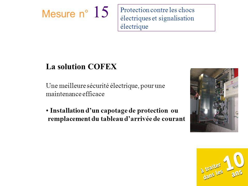 Mesure n° 15 Protection contre les chocs électriques et signalisation électrique La solution COFEX Une meilleure sécurité électrique, pour une mainten