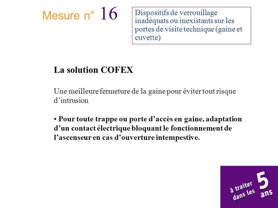 Mesure n° 16 Dispositifs de verrouillage inadéquats ou inexistants sur les portes de visite technique (gaine et cuvette) La solution COFEX Une meilleu