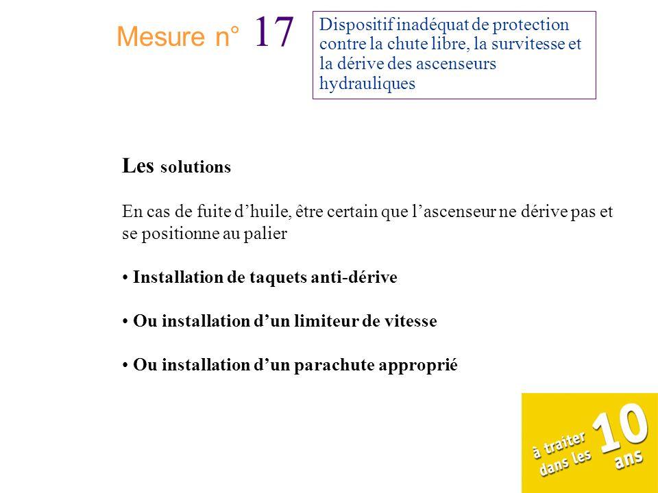 Mesure n° 17 Dispositif inadéquat de protection contre la chute libre, la survitesse et la dérive des ascenseurs hydrauliques Les solutions En cas de