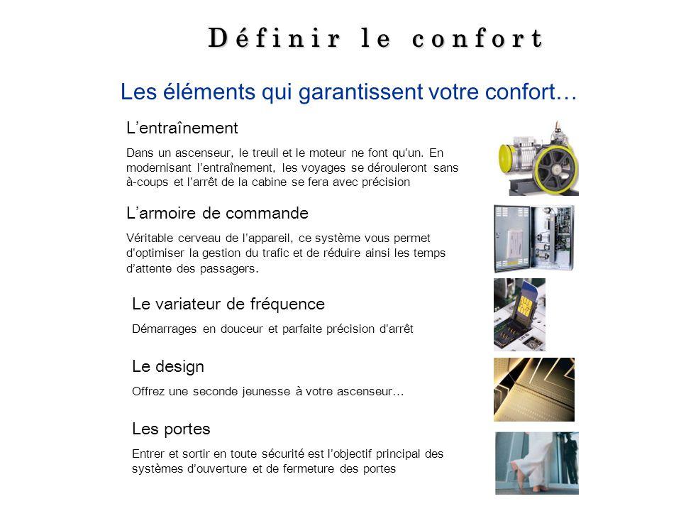 D é f i n i r l e c o n f o r t Les éléments qui garantissent votre confort… Lentraînement Dans un ascenseur, le treuil et le moteur ne font quun. En