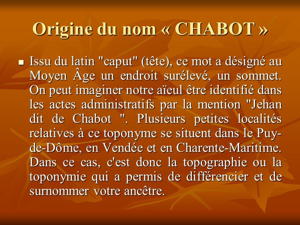 Origine du nom « CHABOT » Issu du latin caput (tête), ce mot a désigné au Moyen Âge un endroit surélevé, un sommet.