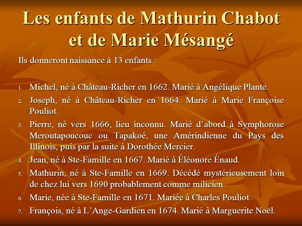Les enfants de Mathurin Chabot et de Marie Mésangé Ils donneront naissance à 13 enfants : 1.