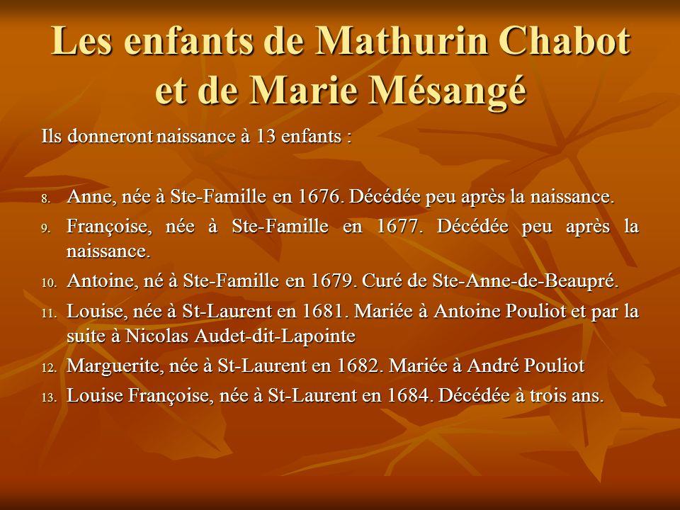 Les enfants de Mathurin Chabot et de Marie Mésangé Ils donneront naissance à 13 enfants : 8.