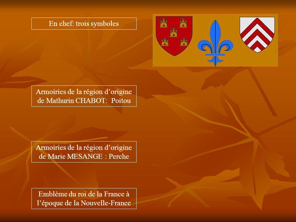 Armoiries de la région dorigine de Mathurin CHABOT: Poitou Armoiries de la région dorigine de Marie MESANGE : Perche Emblème du roi de la France à lépoque de la Nouvelle-France En chef: trois symboles
