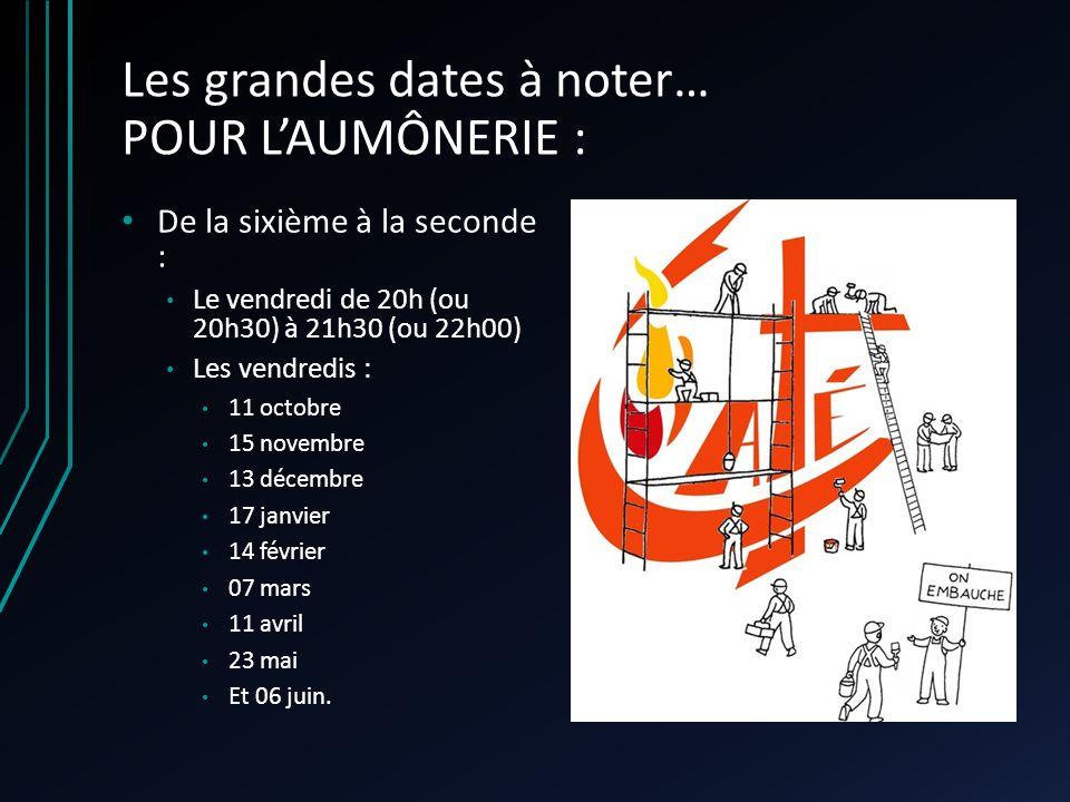Les grandes dates à noter… POUR LAUMÔNERIE : De la sixième à la seconde : Le vendredi de 20h (ou 20h30) à 21h30 (ou 22h00) Les vendredis : 11 octobre 15 novembre 13 décembre 17 janvier 14 février 07 mars 11 avril 23 mai Et 06 juin.