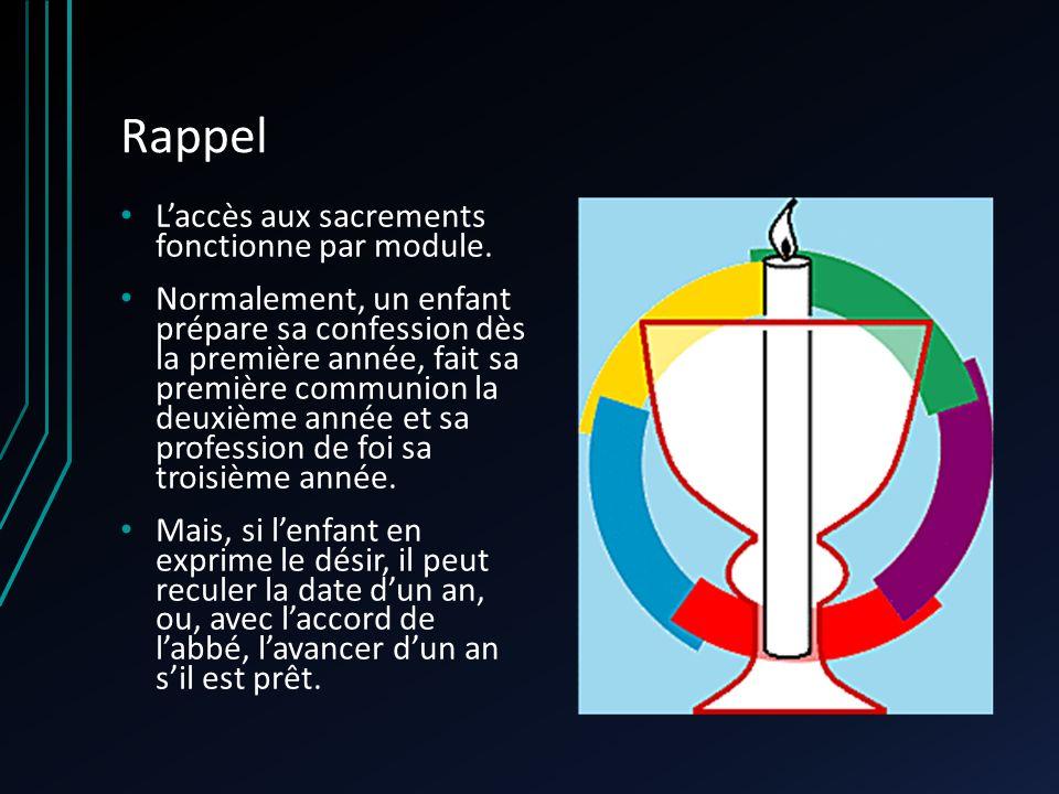 Rappel Laccès aux sacrements fonctionne par module.