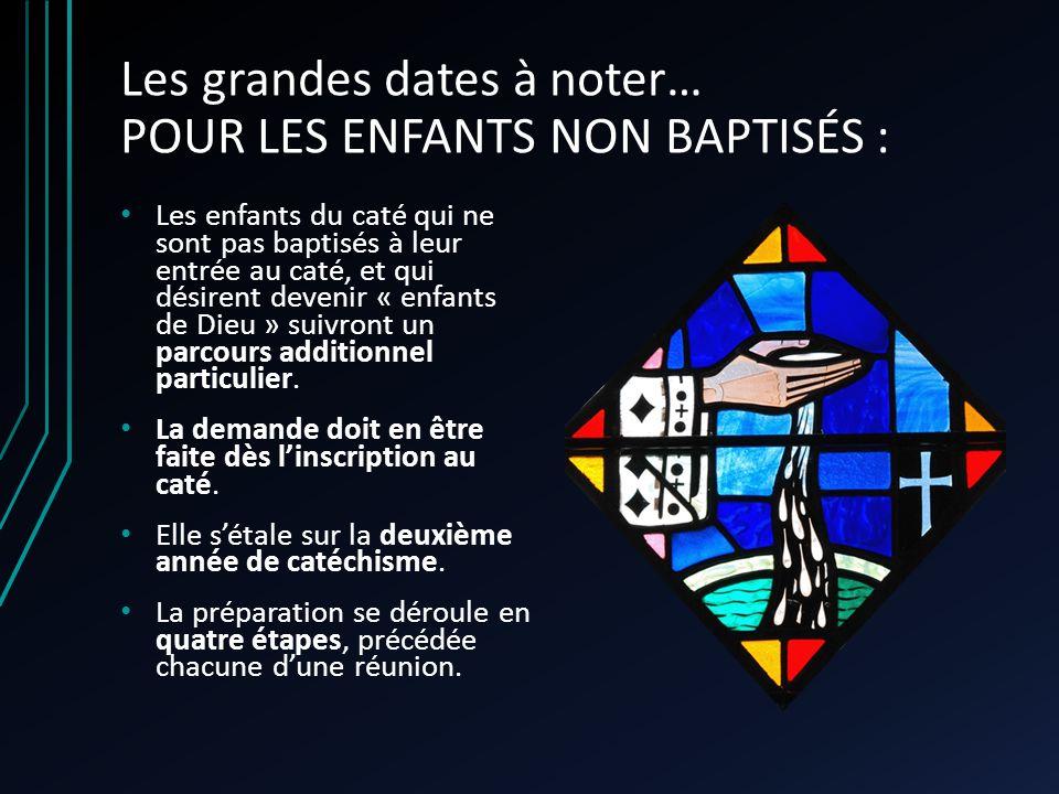 Les grandes dates à noter… POUR LES ENFANTS NON BAPTISÉS : Les enfants du caté qui ne sont pas baptisés à leur entrée au caté, et qui désirent devenir « enfants de Dieu » suivront un parcours additionnel particulier.