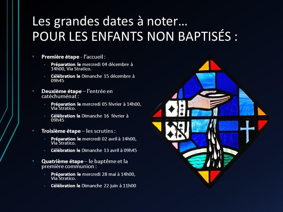 Les grandes dates à noter… POUR LES ENFANTS NON BAPTISÉS : Première étape - laccueil : Préparation le mercredi 04 décembre à 14h00, Via Stratico. Célé