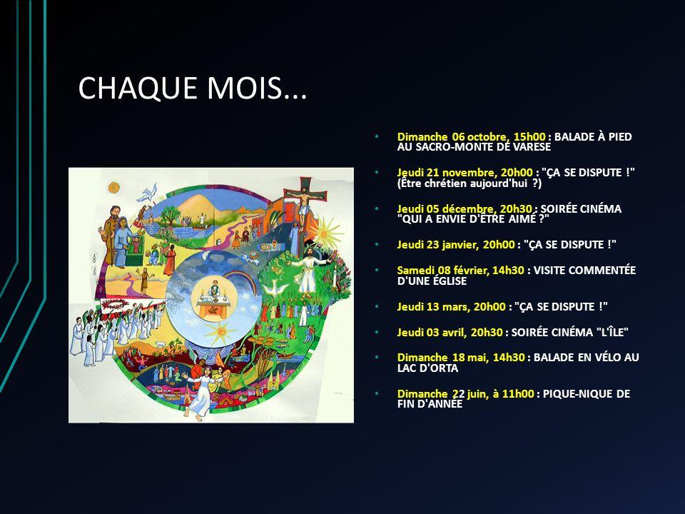 CHAQUE MOIS... Dimanche 06 octobre, 15h00 : BALADE À PIED AU SACRO-MONTE DE VARESE Jeudi 21 novembre, 20h00 :